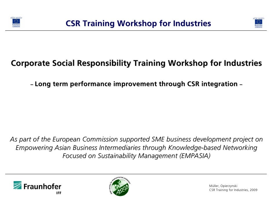 CSR Training Workshop for Industries    Corporate Social Responsibility Training Workshop for Industries        – Long   t...