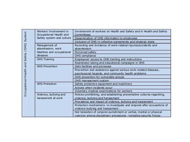 Occupational Health and Safety (OHS) System  HRM  and  CSR  :  OHS  system        Workers' involvement in Oc...
