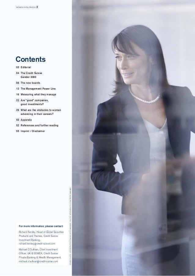Contents  03 Editorial  04 The Credit Suisse  Gender 3000  06 The new boards  12 The Management Power Line  16 Measuring w...