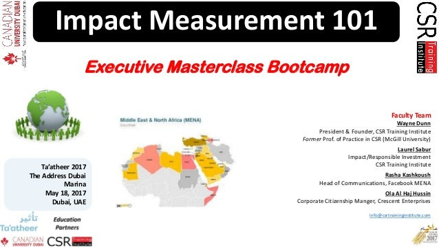 Impact Measurement 101 Faculty Team Wayne Dunn President & Founder, CSR Training Institute Former Prof. of Practice in CSR...