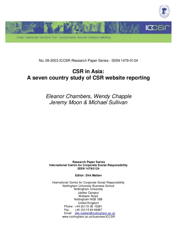 No. 09-2003 ICCSR Research Paper Series - ISSN 1479-5124                 CSR in Asia:A seven country study of CSR website ...