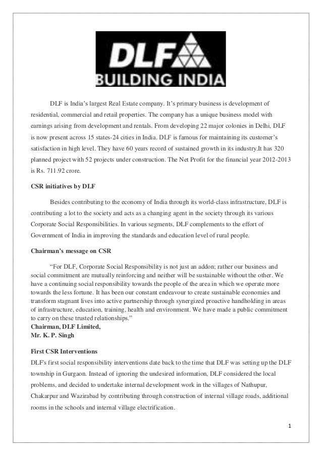 "DLF is India""s largest Real Estate company. It""s primary business is development of residential, commercial and retail pro..."
