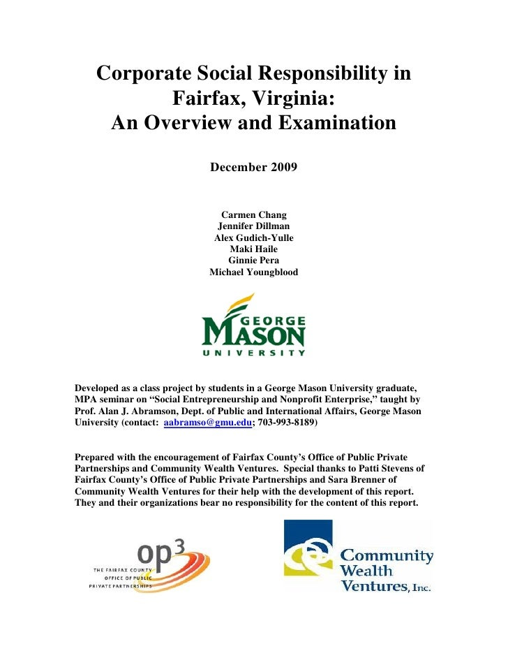 Corporate Social Responsibility in             Fairfax, Virginia:       An Overview and Examination                       ...