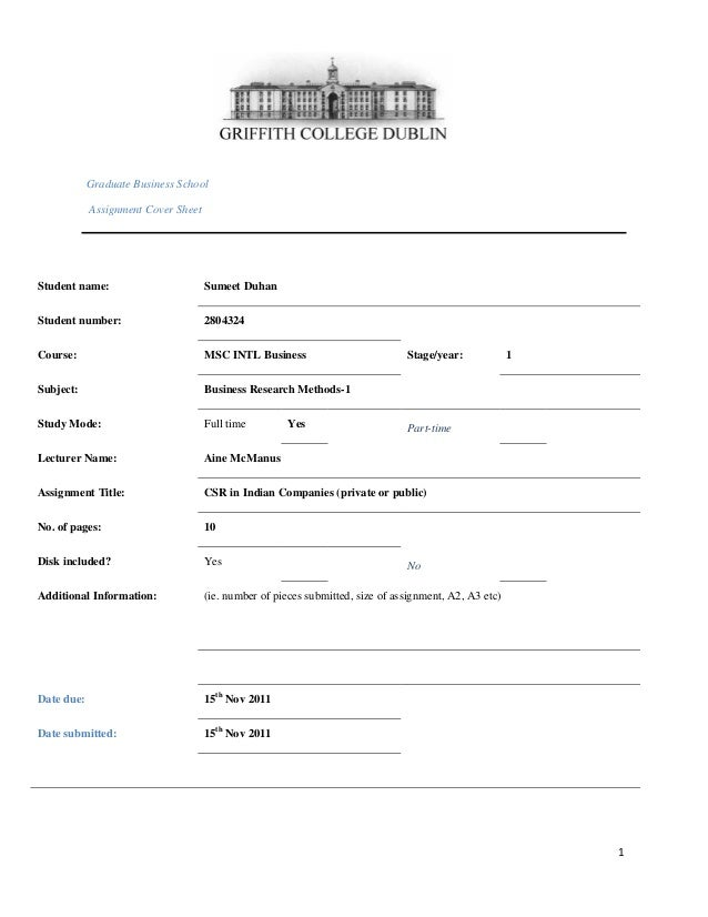 Graduate Business School Assignment Cover Sheet  Student name:  Sumeet Duhan  Student number:  2804324  Course:  MSC INTL ...