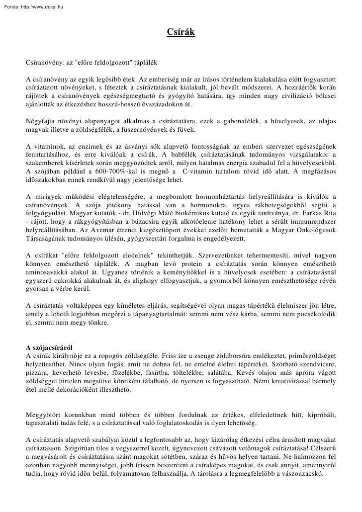 Forrás: http://www.doksi.hu                                                              Csírák            Csíranövény: az...