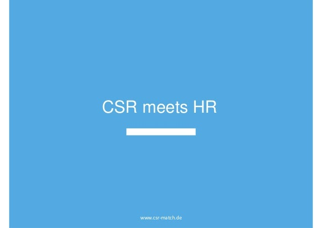 CSR meets HR www.csr-match.de