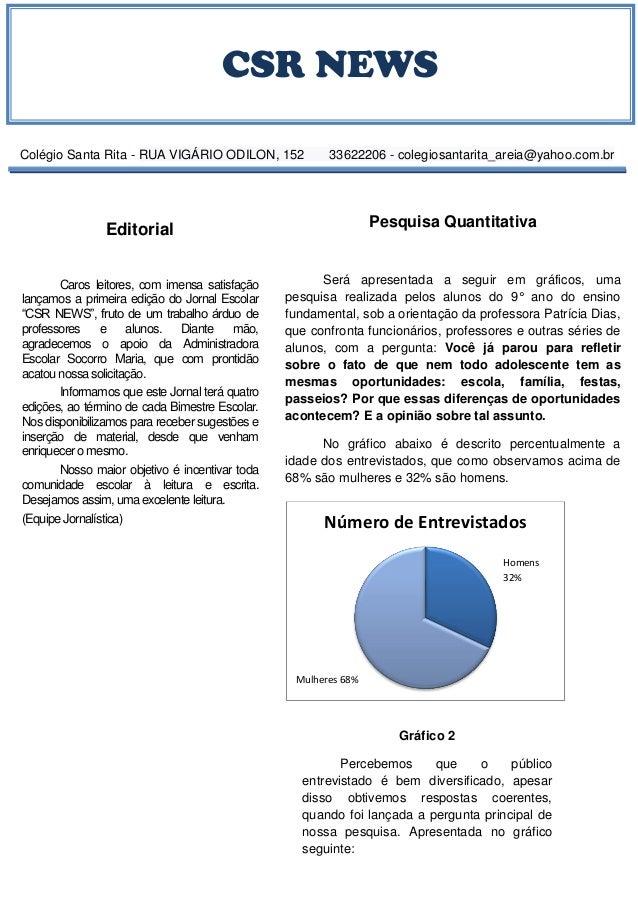CSR NEWS Colégio Santa Rita - RUA VIGÁRIO ODILON, 152 33622206 - colegiosantarita_areia@yahoo.com.br Editorial Caros leito...