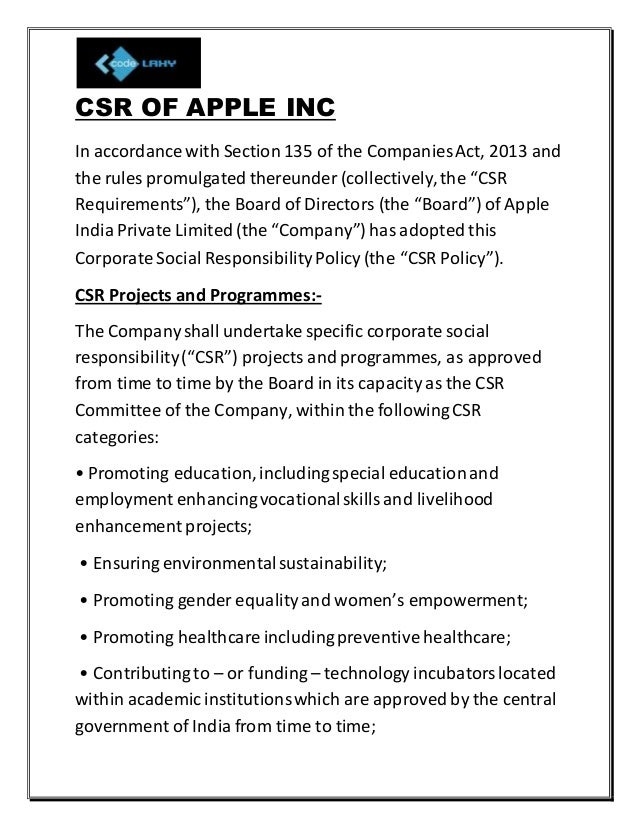 corporate social responsibility of apple company
