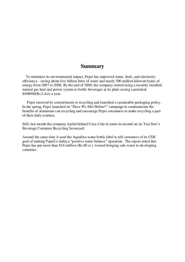 Environmental sustainability report pepsico foundation