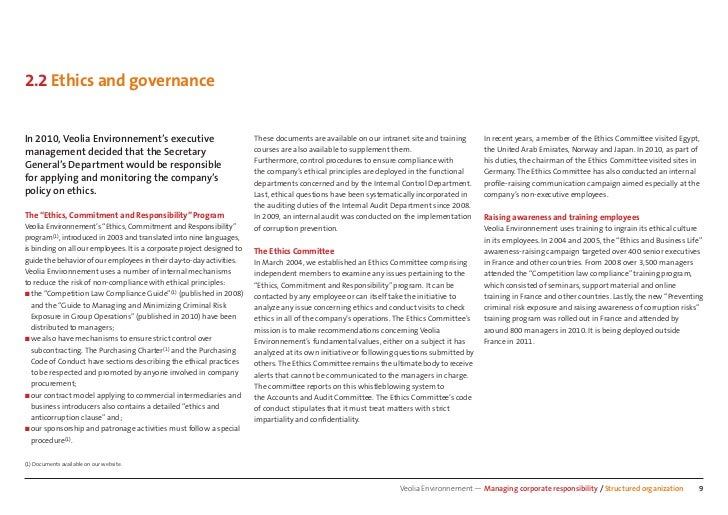 2.2 Ethics and governanceIn 2010, Veolia Environnement's executive                                These documents are avai...