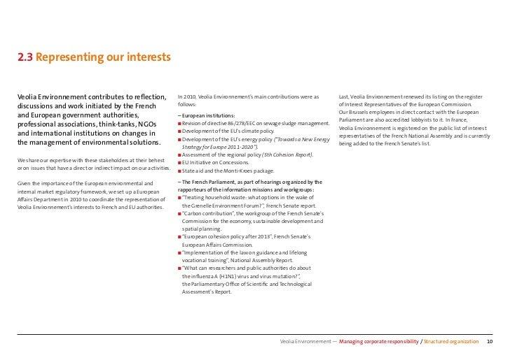 2.3 Representing our interestsVeolia Environnement contributes to reflection,                          In 2010, Veolia Envi...