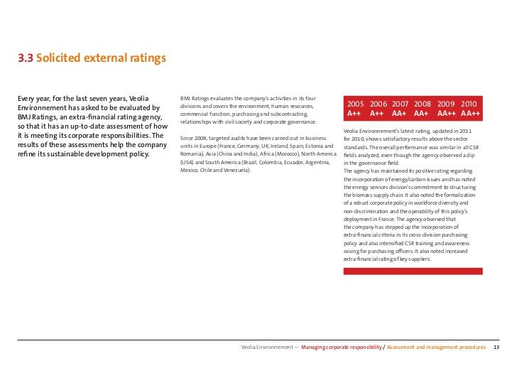 3.3 Solicited external ratingsEvery year, for the last seven years, Veolia        BMJ Ratings evaluates the company's acti...