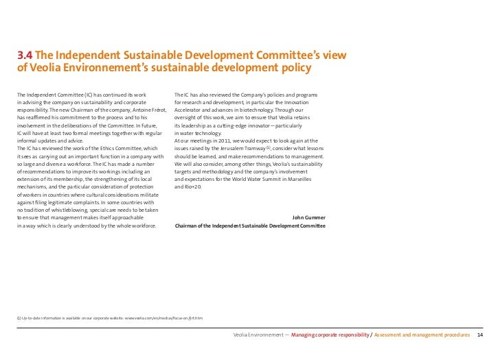 3.4 The Independent Sustainable Development Committee's viewof Veolia Environnement's sustainable development policyThe In...