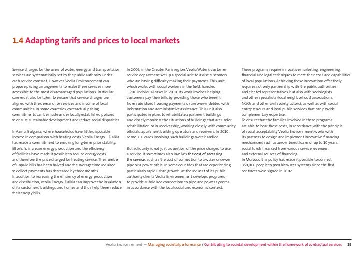 1.4 Adapting tarifs and prices to local marketsService charges for the users of water, energy and transportation   In 2006...