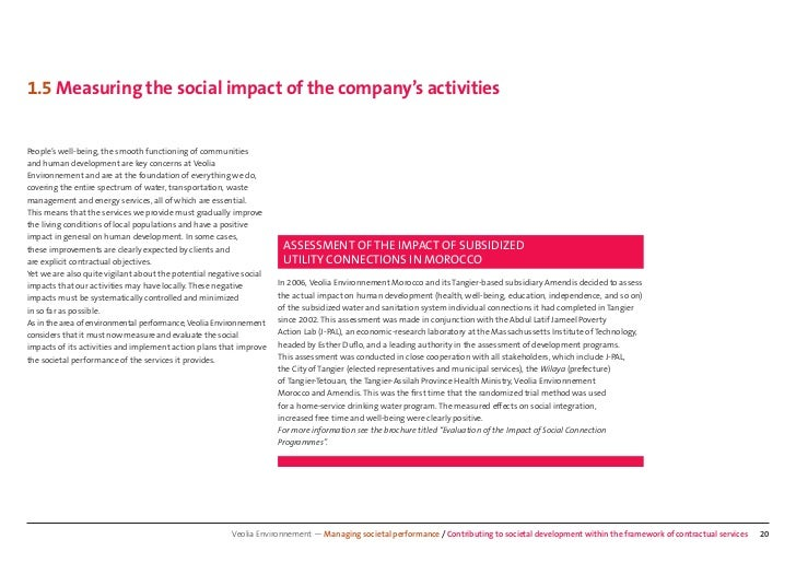1.5 Measuring the social impact of the company's activitiesPeople's well-being, the smooth functioning of communitiesand h...