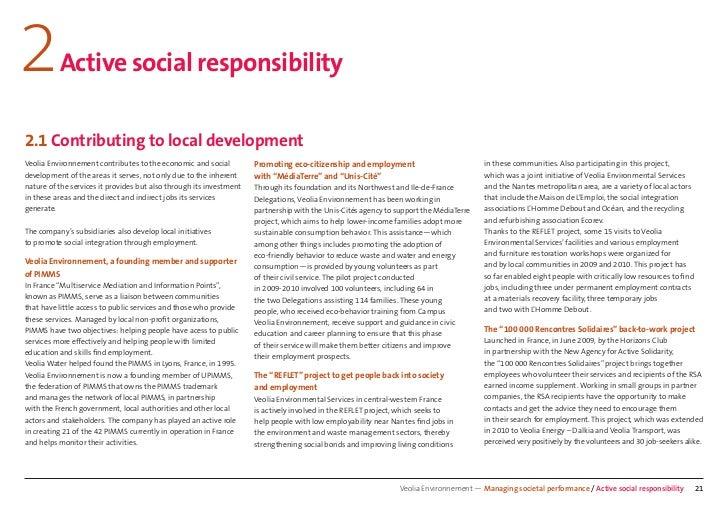 2         Active social responsibility2.1 Contributing to local developmentVeolia Environnement contributes to the economi...