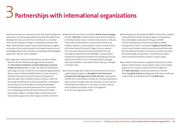 3         Partnerships with international organizationsVeolia Environnement continued to work with major UN agencies      ...