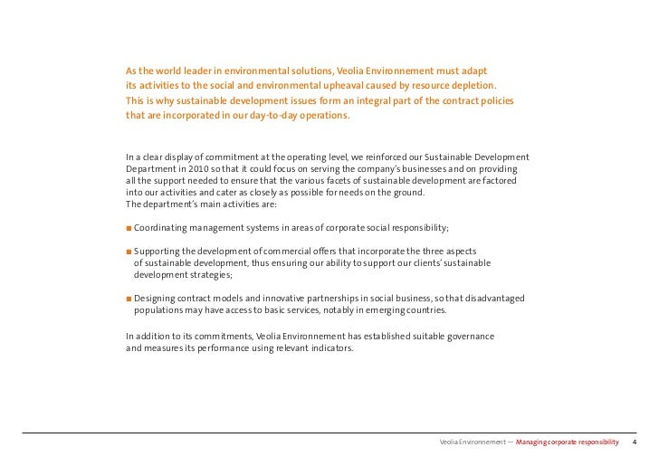 As the world leader in environmental solutions, Veolia Environnement must adaptits activities to the social and environmen...