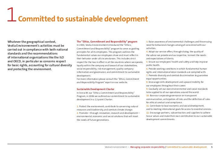 """1       Committed to sustainable developmentWhatever the geographical context,                    The """"Ethics, Commitment ..."""