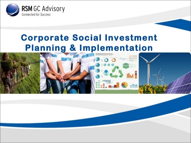 Corporate Social Investment Planning & Implementation
