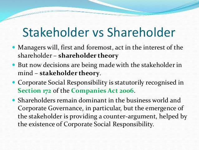shareholder and stakeholder essay