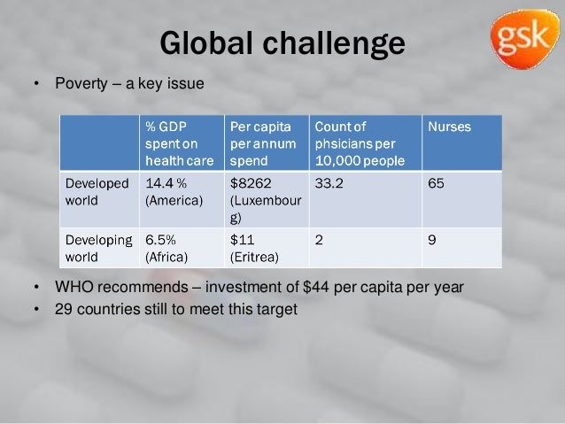 Global challenge • Poverty – a key issue • WHO recommends – investment of $44 per capita per year • 29 countries still to ...