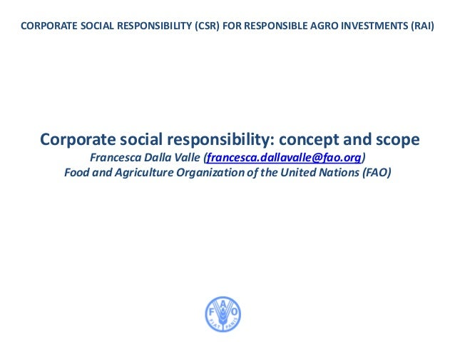CORPORATE SOCIAL RESPONSIBILITY (CSR) FOR RESPONSIBLE AGRO INVESTMENTS (RAI) Corporate social responsibility: concept and ...