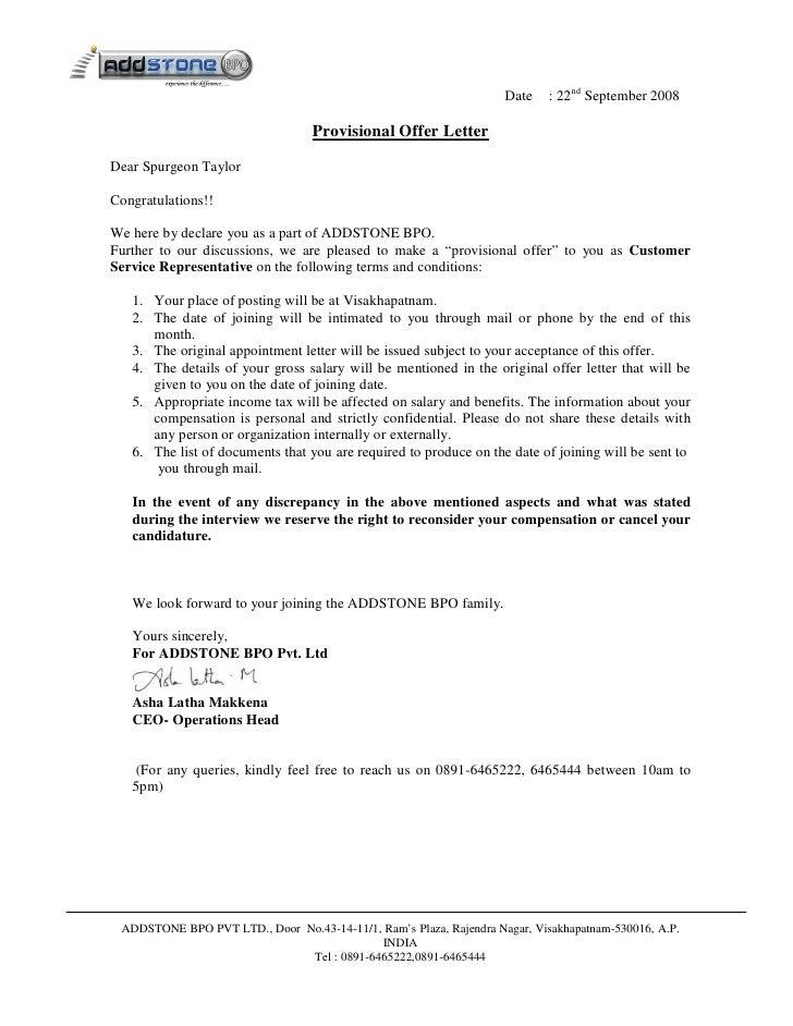 Provisional Allotment Letter Sample