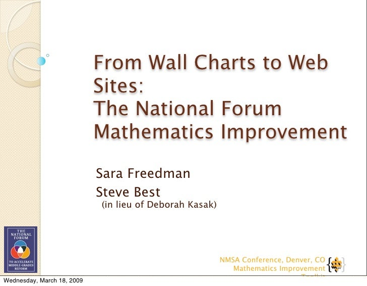 From Wall Charts to Web                             Sites:                             The National Forum                 ...