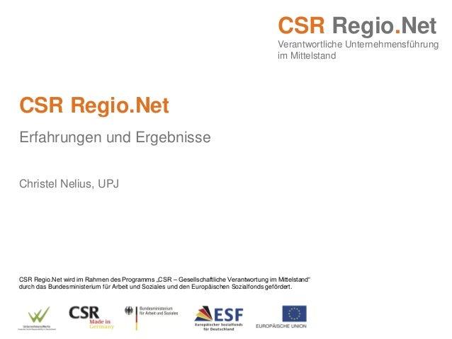 """CSR Regio.Net wird im Rahmen des Programms """"CSR – Gesellschaftliche Verantwortung im Mittelstand"""" durch das Bundesminister..."""