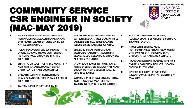 Community Service Csr Engineer In Society Mac May 2019