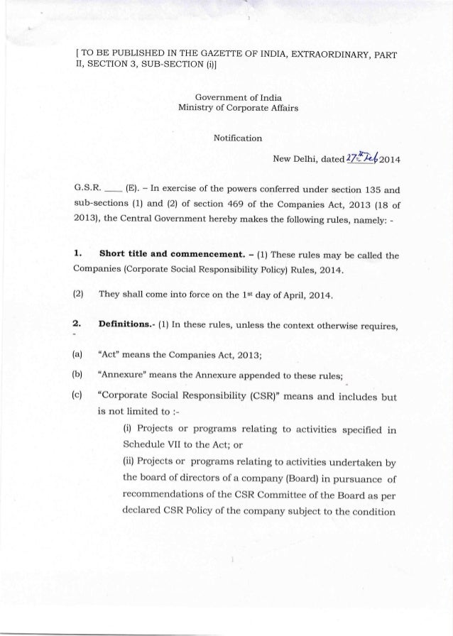 Csr rules notification under companies act feb 2014