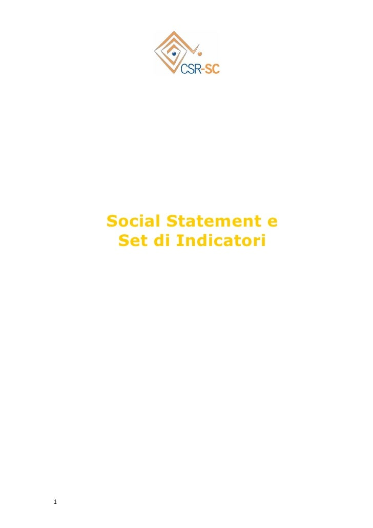 Social Statement e      Set di Indicatori     1