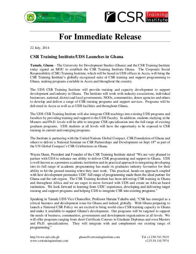 http://www.uds.edu.gh ghana@csrtraininginstitute.com Tel +1.250.743.7619 www.csrtraininginstitute.com +233.54.110.7974 For...