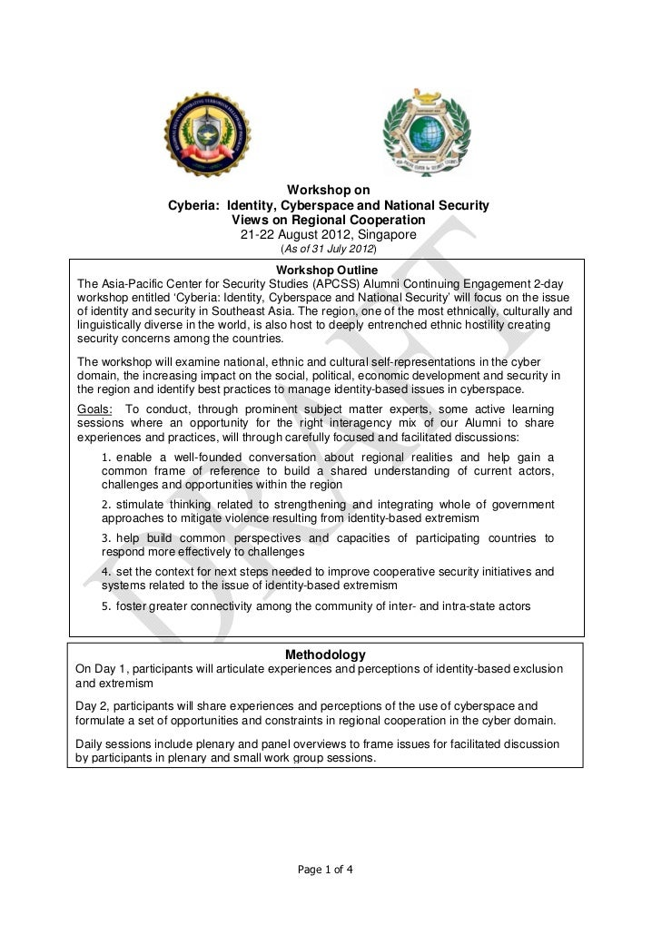 Workshop on                 Cyberia: Identity, Cyberspace and National Security                           Views on Regiona...