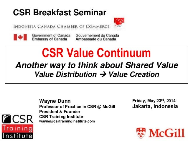 CSR Value Continuum Another way to think about Shared Value Value Distribution  Value Creation Wayne Dunn Professor of Pr...