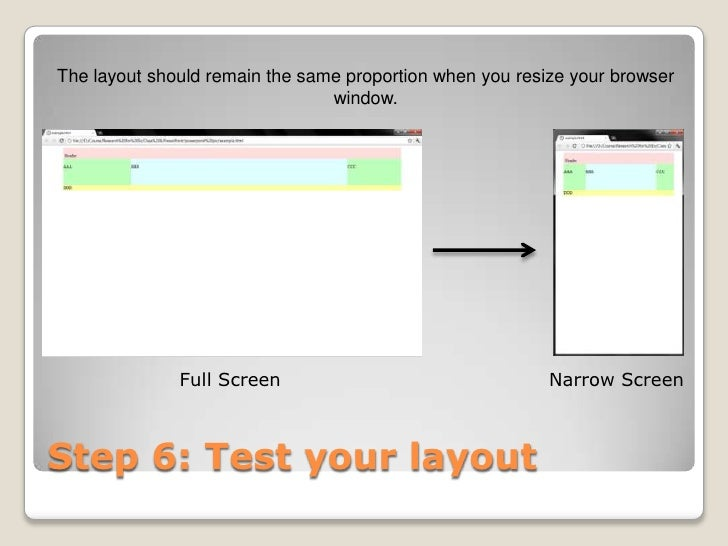 The layout should remain the same proportion when you resize your browser                                window.          ...