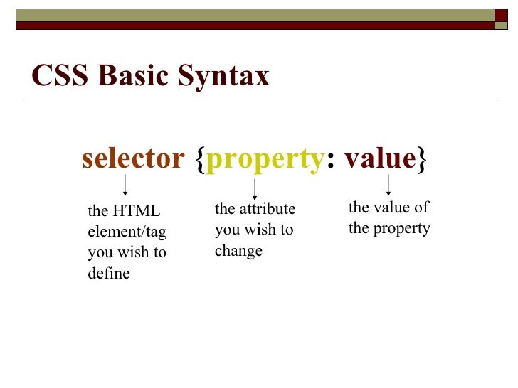 CSS Basic Syntax selector  { property :  value }  the HTML element/tag you wish to define  the attribute you wish to chang...