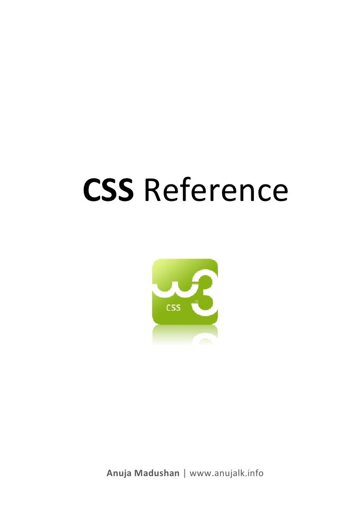 CSS Reference Anuja Madushan   www.anujalk.info