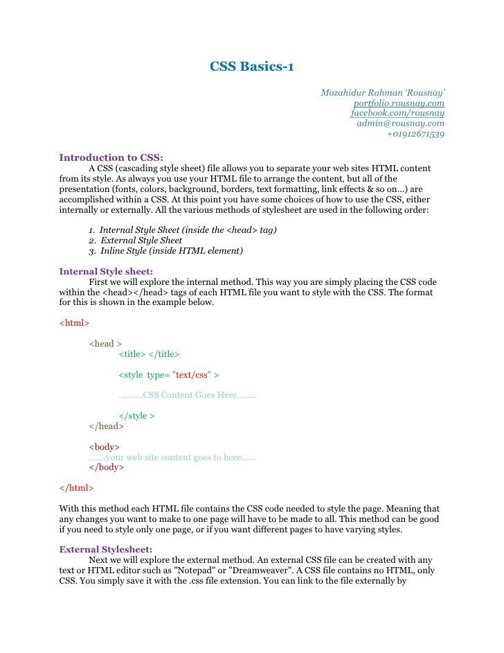 CSS Basics-1                                                                   Mozahidur Rahman 'Rousnay'                 ...