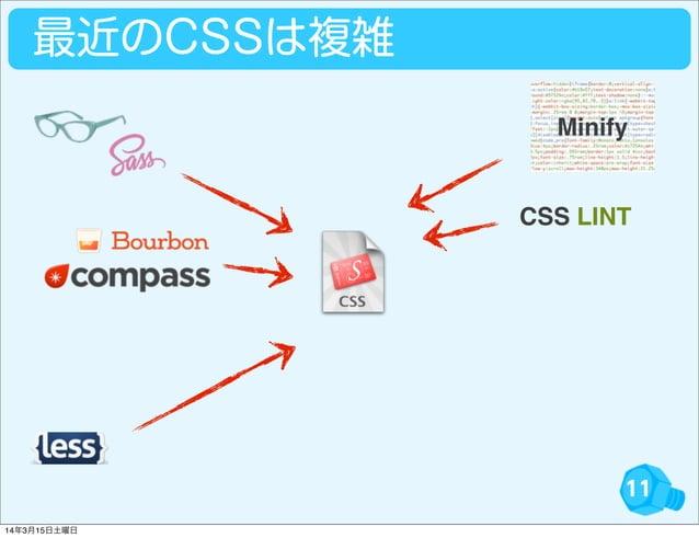 11 最近のCSSは複雑 CSS LINT Minify 14年3月15日土曜日