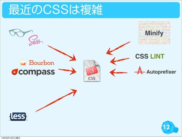 12 最近のCSSは複雑 CSS LINT Autoprefixer Minify 14年3月15日土曜日