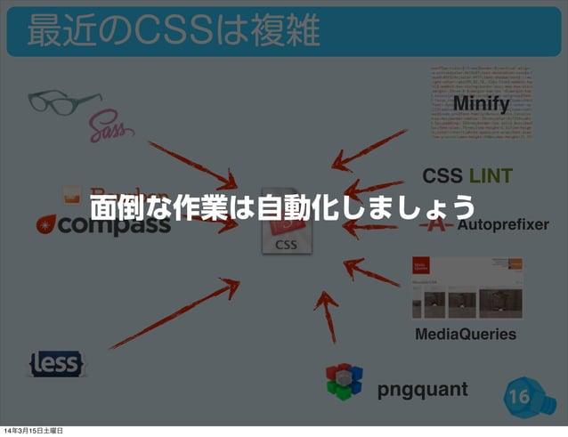 16 最近のCSSは複雑 CSS LINT Autoprefixer MediaQueries Minify pngquant 面倒な作業は自動化しましょう 14年3月15日土曜日