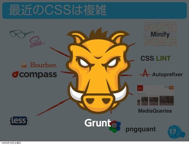 17 最近のCSSは複雑 CSS LINT Autoprefixer MediaQueries Minify pngquant Grunt 14年3月15日土曜日