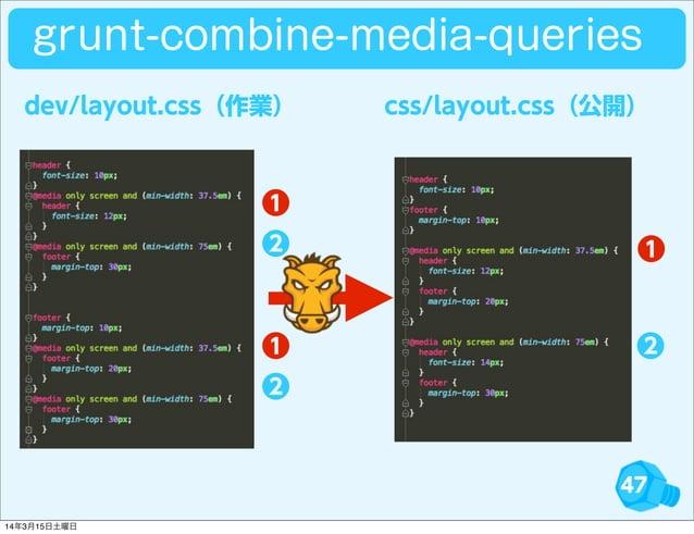 47 ❶ ❷ ❶ ❷❶ ❷ dev/layout.css(作業) css/layout.css(公開) grunt-combine-media-queries 14年3月15日土曜日