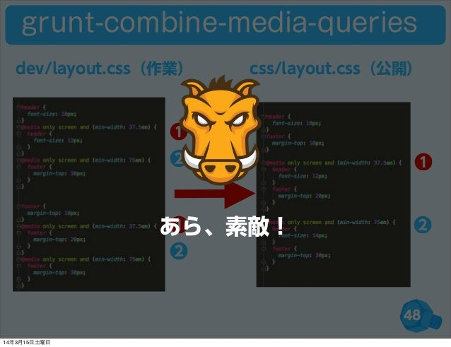 48 ❶ ❷ ❶ ❷❶ ❷ dev/layout.css(作業) css/layout.css(公開) grunt-combine-media-queries あら、素敵! 14年3月15日土曜日