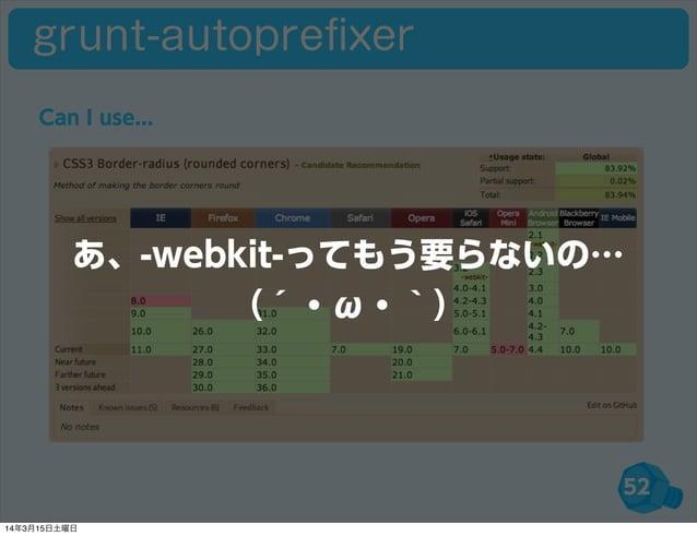 52 grunt-autoprefixer Can I use... あ、-webkit-ってもう要らないの… (´・ω・`) 14年3月15日土曜日
