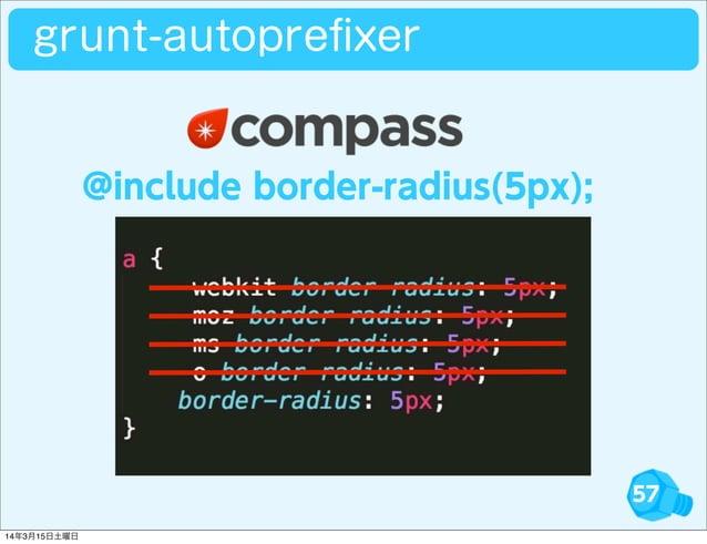 57 grunt-autoprefixer @include border-radius(5px); 14年3月15日土曜日