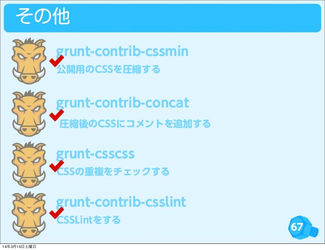 67 その他 公開用のCSSを圧縮する grunt-contrib-cssmin grunt-contrib-concat CSSの重複をチェックする grunt-csscss CSSLintをする grunt-contrib-csslint ...