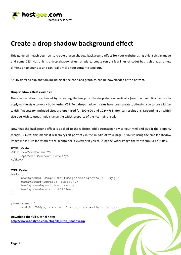 Create a drop shadow background effect This guide will teach you how to create a drop shadow background effect for your we...